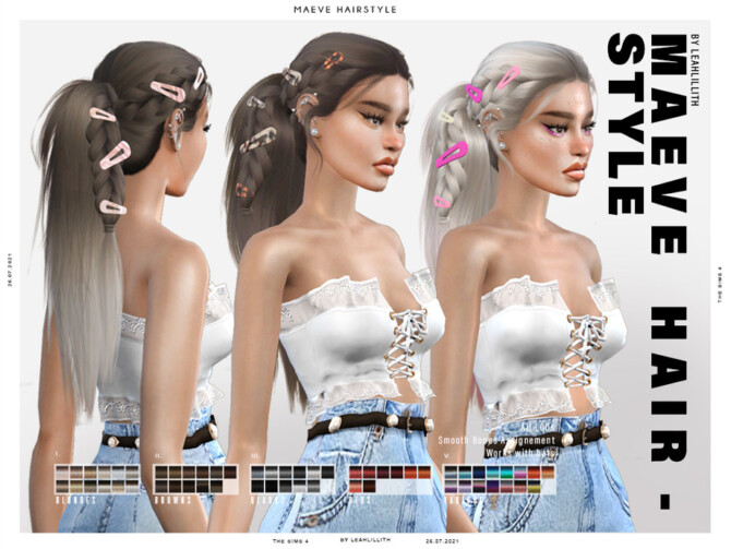 Sims 4 Maeve Hairstyle by Leah Lillith at TSR