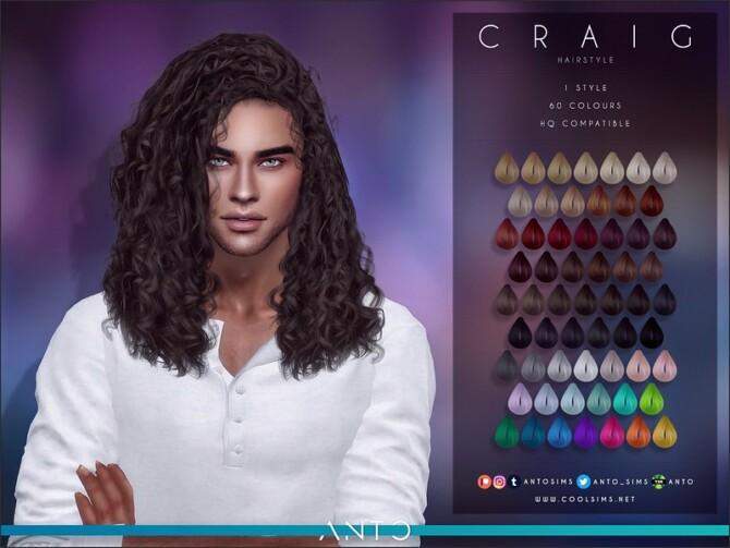 Sims 4 Craig long curly hair by Anto at TSR