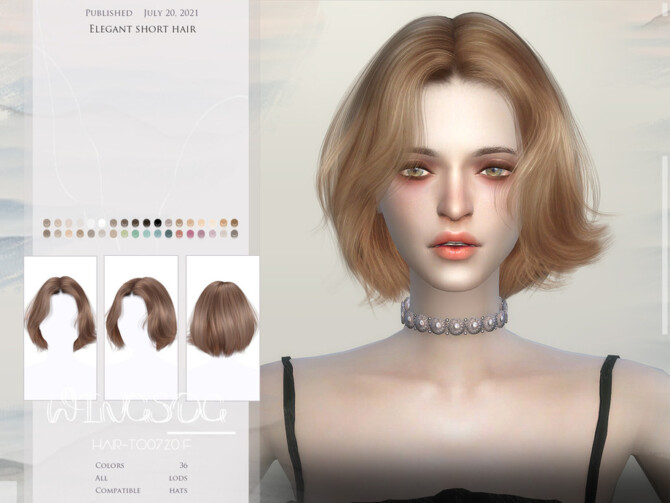 Sims 4 WINGS TO0720 Elegant short hair by wingssims at TSR