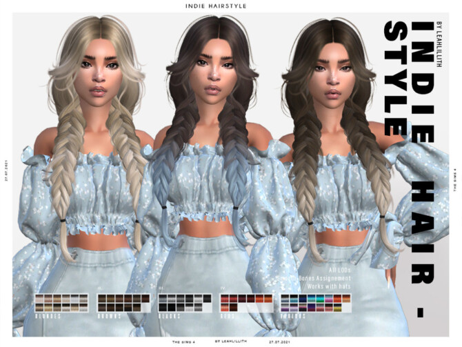 Sims 4 Indie Hairstyle by LeahLillith at TSR