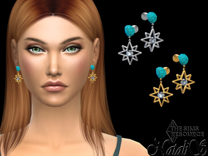 Sims 4 Starry turquoise earrings by NataliS at TSR