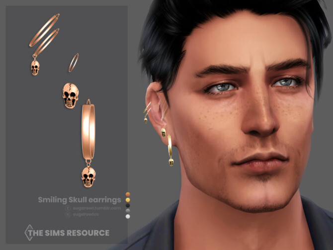 Sims 4 Smiling Skull earrings Right by sugar owl at TSR