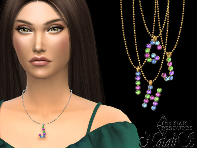 Sims 4 Letter GHIJ multicolor pendant set by NataliS at TSR