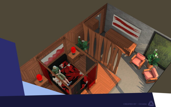 Sims 4 Hout Huis Part 1 (Master Bedroom) by Cicada at Mod The Sims 4