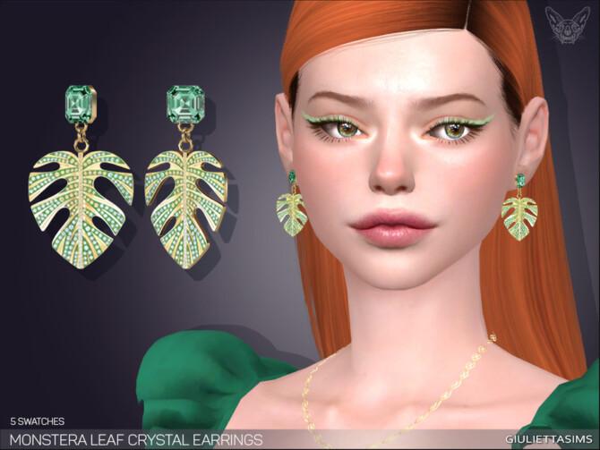 Sims 4 Monstera Leaf Crystal Earrings by feyona at TSR
