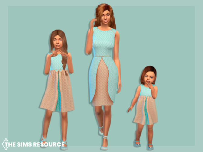 Sims 4 Quilted two tone dress by MysteriousOo at TSR