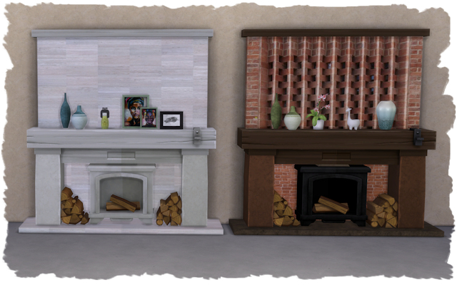 Sims 4 Fireplace country life recolor by Chalipo at All 4 Sims