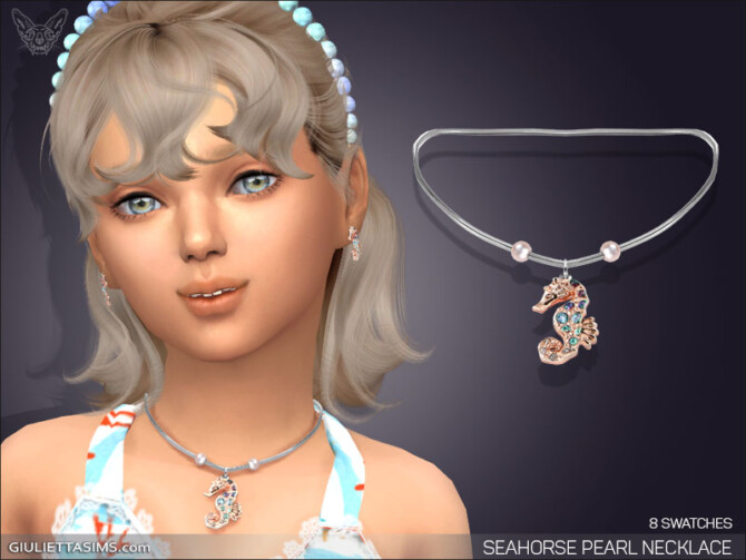 Sims 4 Seahorse Pearl Necklace For Kids at Giulietta
