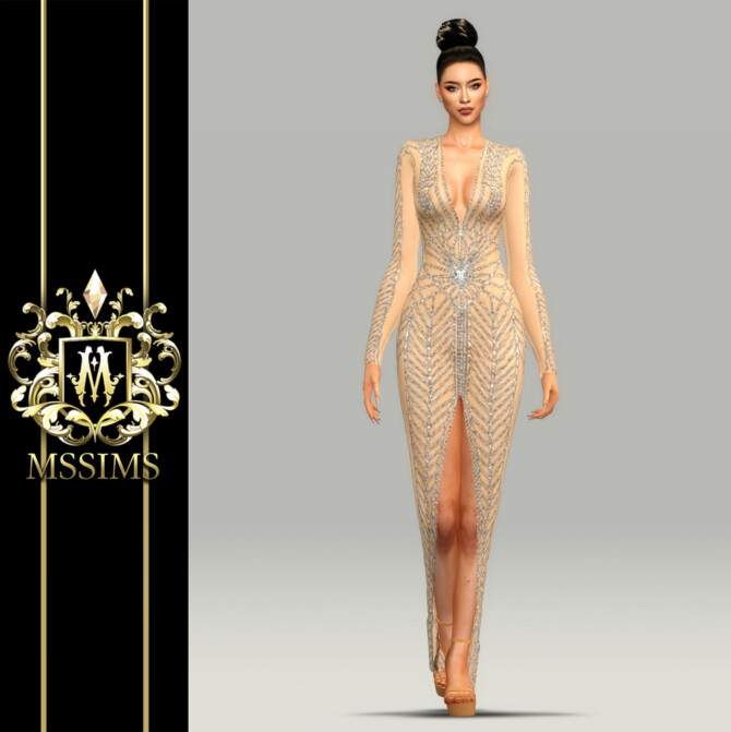 Sims 4 NEW DEMI GOWN at MSSIMS