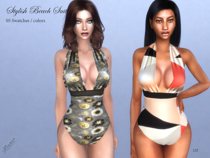 Sims 4 Stylish Beach Suit by pizazz at TSR