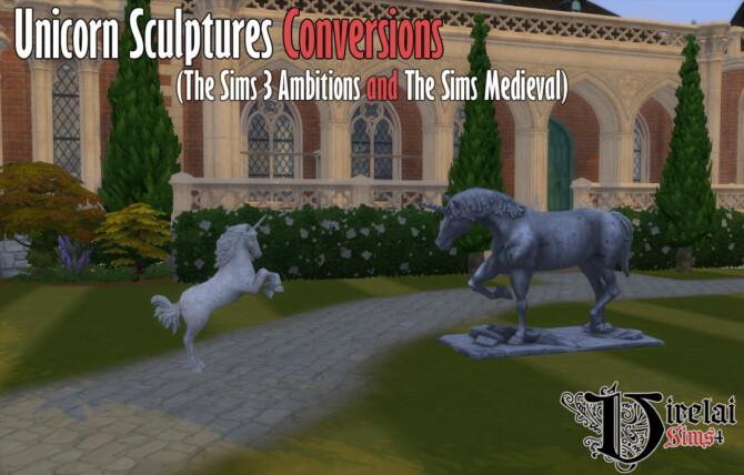 Sims 4 Unicorn sculptures conversion at Virelai