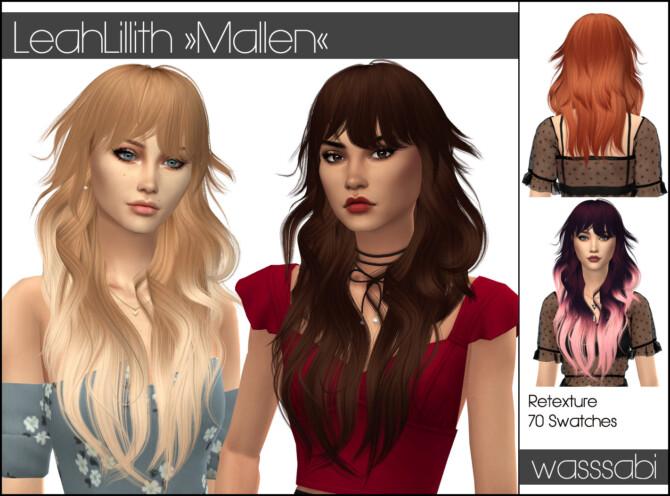 Sims 4 LeahLillith Mallen hair retextured at Wasssabi Sims