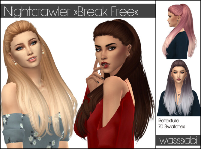 Sims 4 Nightcrawler Break Free hair retextured at Wasssabi Sims