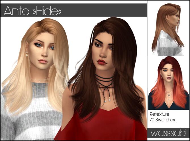 Sims 4 Anto Hide hair retextured at Wasssabi Sims