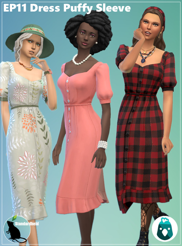 Sims 4 EP11 Dress Puffy Sleeve at Standardheld