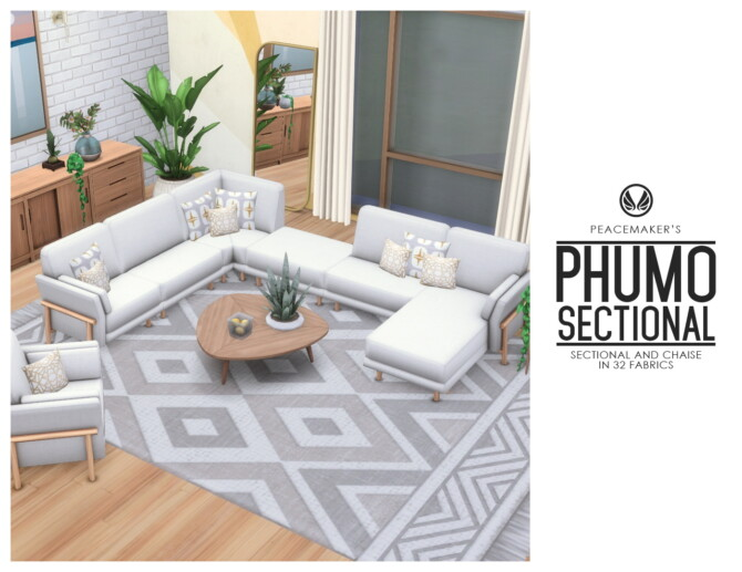 Sims 4 Phumo Seating Sectional Sofa and Chaise at Simsational Designs