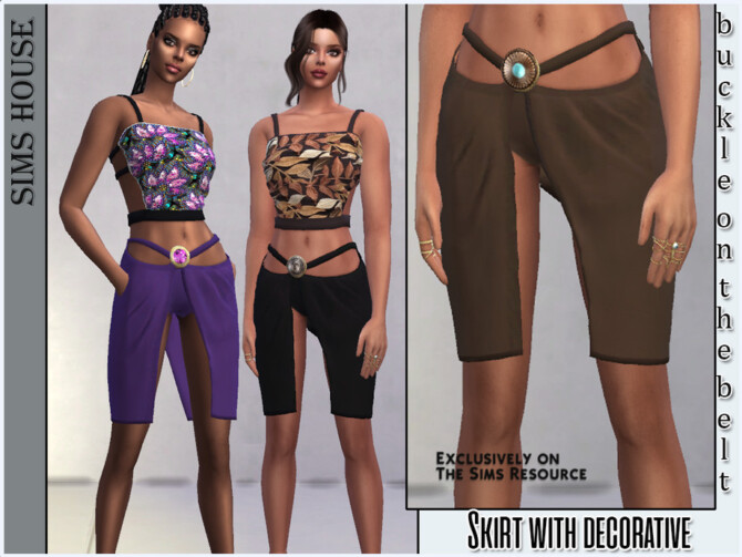 Sims 4 Skirt with decorative buckle on the belt by Sims House at TSR