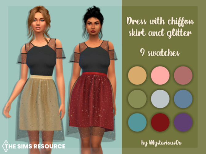Sims 4 Dress with chiffon skirt and glitter by MysteriousOo at TSR