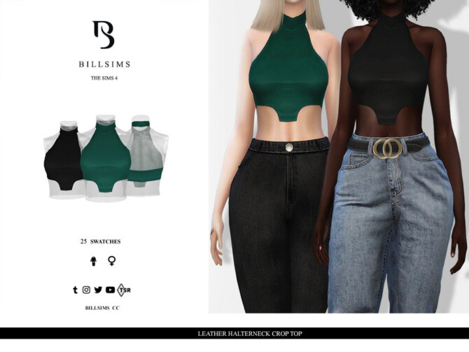 Sims 4 Leather Halterneck Crop Top by Bill Sims at TSR