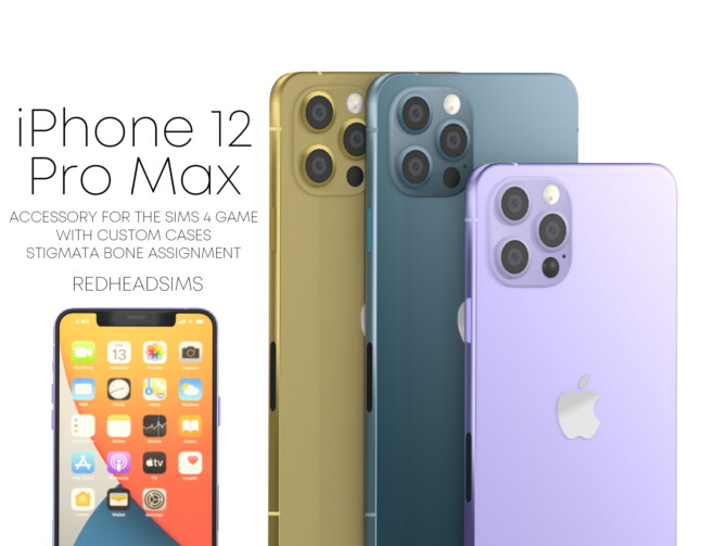 Sims 4 IPHONE 12 PRO MAX + CASES + AIR PODS PRO at REDHEADSIMS