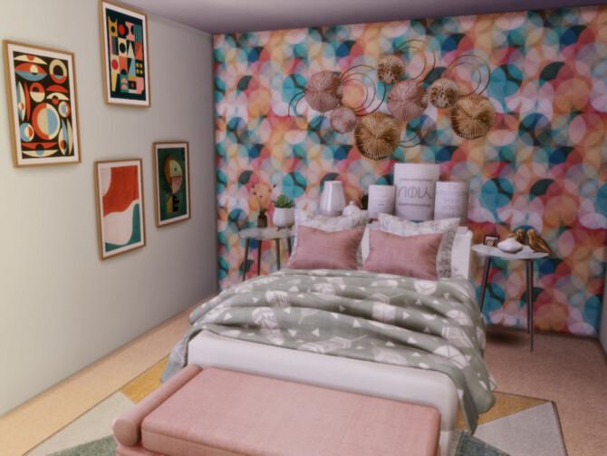 Sims 4 Pastella main bedroom by GenkaiHaretsu at TSR