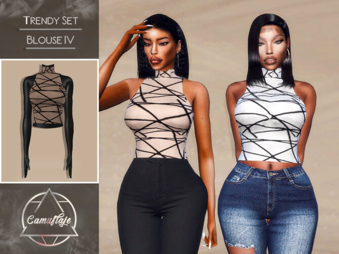 Sims 4 Trendy Tops Set Blouse IV by Camuflaje at TSR