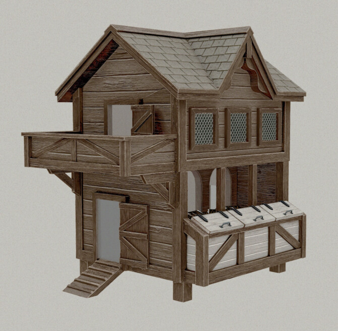 Sims 4 FUNCTIONAL RUSTIC CHICKEN COOP at AggressiveKitty