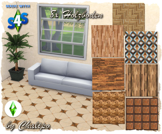 Sims 4 8x wooden floor by Oldbox at All 4 Sims
