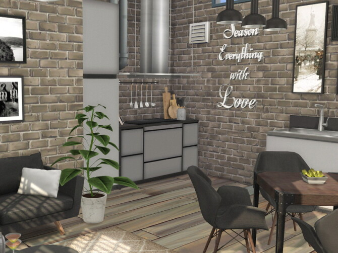 Sims 4 Living / Dining and Kitchen Room Manhatten by Flubs79 at TSR