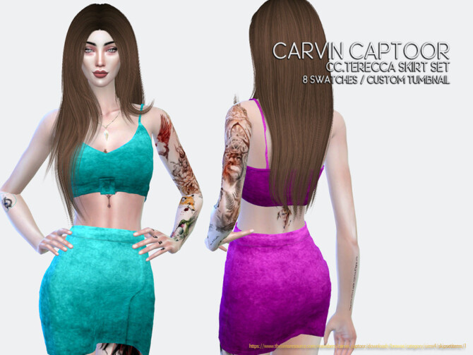 Sims 4 Terecca Skirt Set R by carvin captoor at TSR