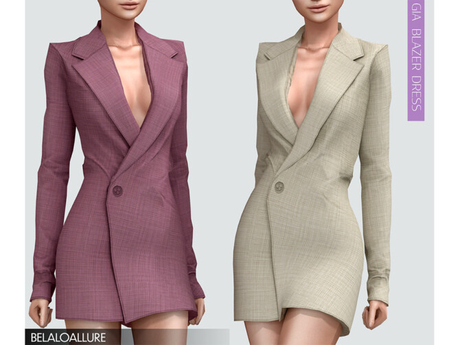 Sims 4 Belaloallure Gia blazer dress by belal1997 at TSR