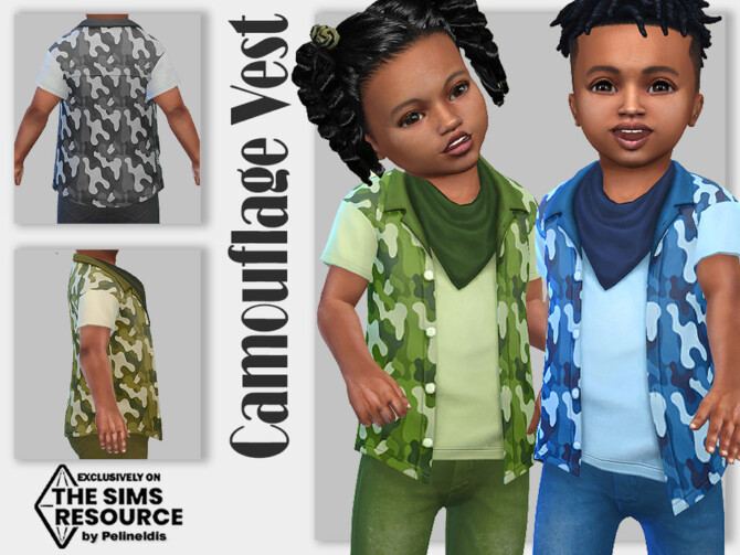 Sims 4 Camouflage Vest by Pelineldis at TSR