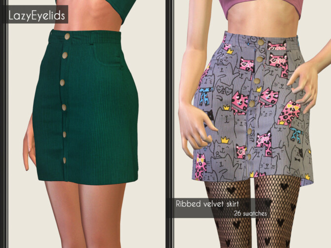 Sims 4 V neck braids knitting sweater + Ribbed velvet skirt at LazyEyelids