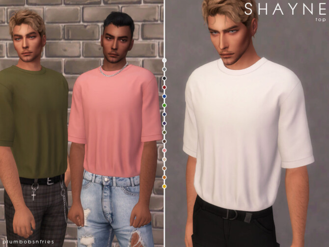 Sims 4 SHAYNE top by Plumbobs n Fries at TSR