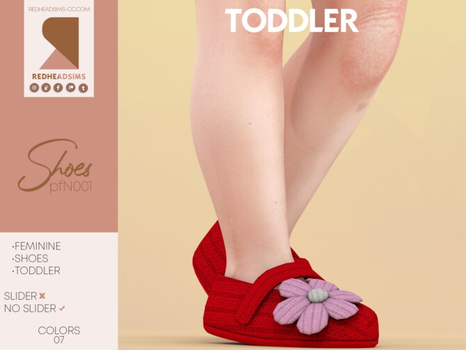 Sims 4 Knitted baby shoes with flower N001 at REDHEADSIMS