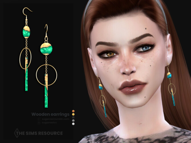 Sims 4 Wooden earrings by sugar owl at TSR
