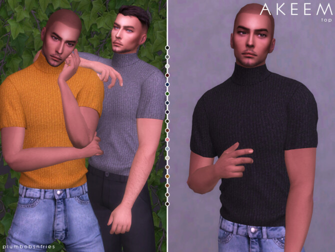 Sims 4 AKEEM top by Plumbobs n Fries at TSR