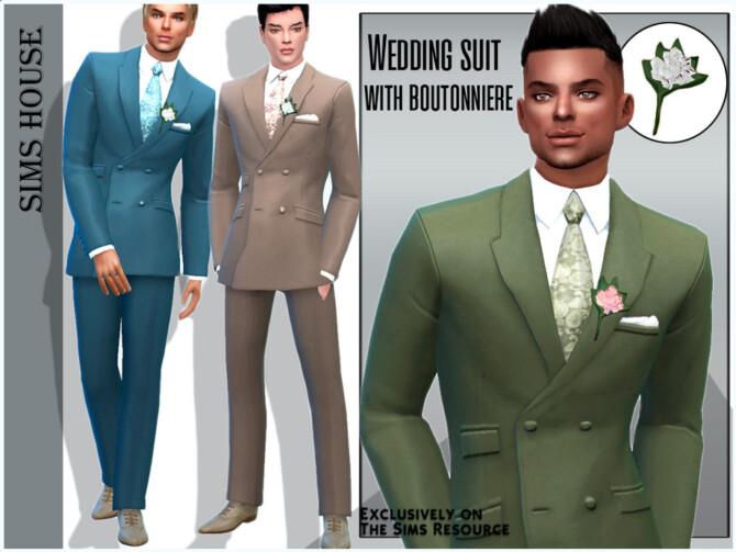 Sims 4 Wedding suit with boutonniere by Sims House at TSR