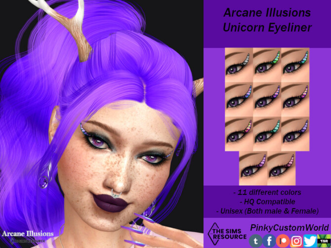 Sims 4 Arcane Illusions   Unicorn Eyeliner by PinkyCustomWorld at TSR