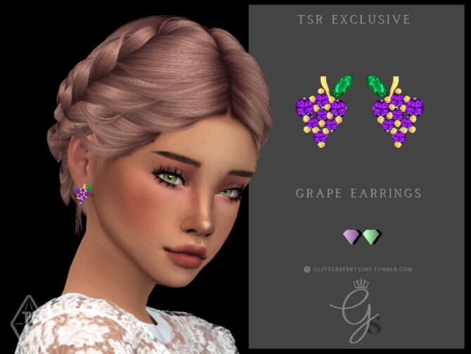 Sims 4 Grape Earrings by Glitterberryfly at TSR