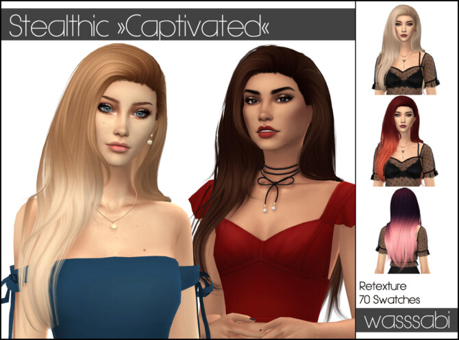 Sims 4 Stealthics Captivated hair retextured at Wasssabi Sims