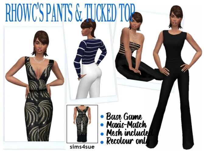 Sims 4 RHOWC'S PANTS & TUCKED TOP at Sims4Sue