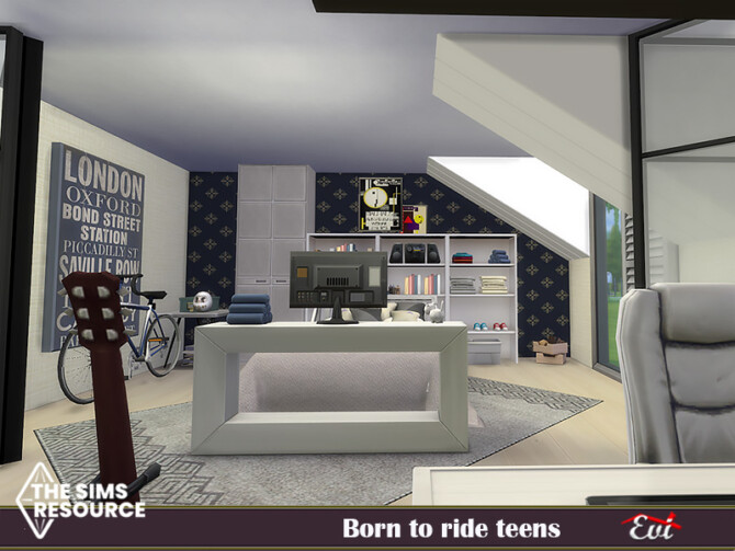 Sims 4 Born to ride teens Bedroom by evi at TSR