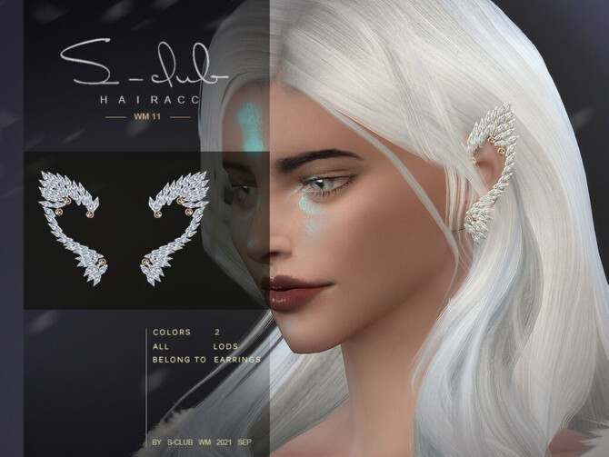 Sims 4 Arcane Illusions Diamond wings earrings by S Club at TSR