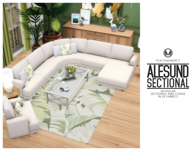 Sims 4 Alesund Modular Sectional and Chaise Seating at Simsational Designs