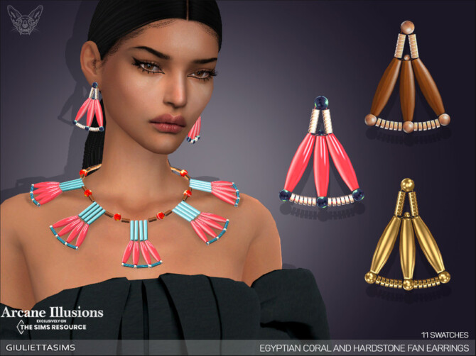 Sims 4 Arcane Illusions   Egyptian Coral and Hardstone Fan Earrings by feyona at TSR