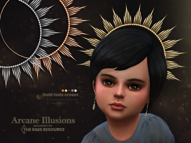 Sims 4 Arcane Illusions   Gold Halo crown for toddlers by sugar owl at TSR