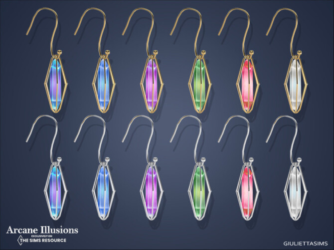Sims 4 Arcane Illusions   Magical Caged Crystal Earrings by feyona at TSR