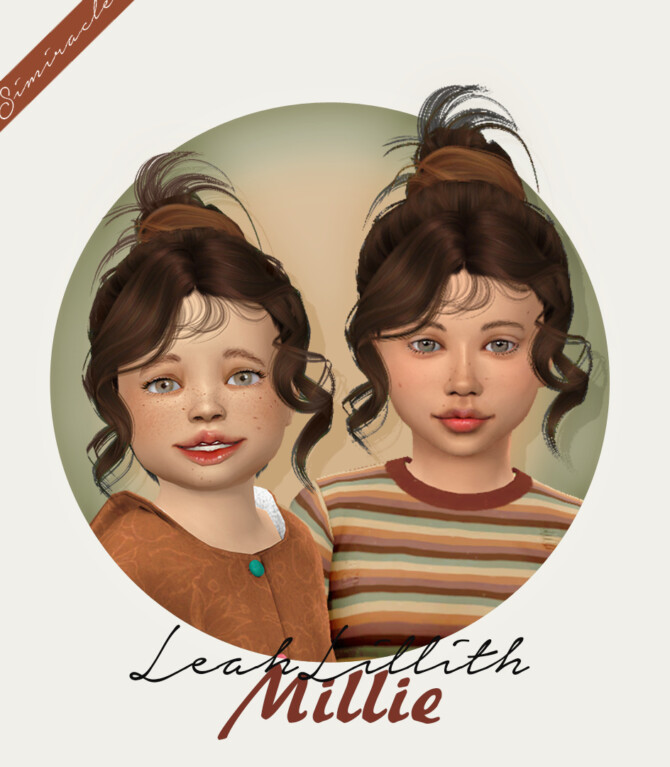 Sims 4 LeahLillith Millie Hair kids and toddlers at Simiracle