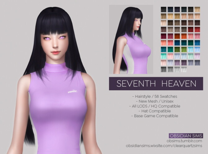 Sims 4 SEVENTH HEAVEN HAIRSTYLE at Obsidian Sims
